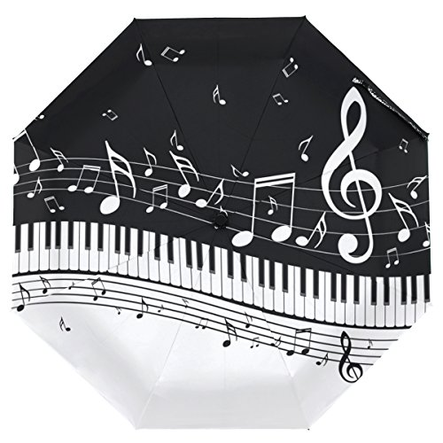 Cooper girl Piano Keys With Musical Notes Umbrella Sun Rain Travel Umbrella with UV Protection for Kids Girl Boys