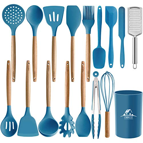 MIBOTE 17PCS Silicone Cooking Kitchen Utensils Set with Holder, Wooden Handles BPA Free Non Toxic Silicone Turner Tongs Spatula Spoon Kitchen Gadgets Utensil Set for Nonstick Cookware (Blue)