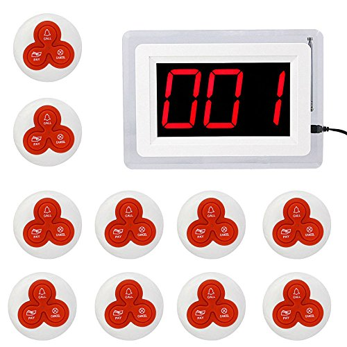 iMeshbean Restaurant Pager System with 999-channel Red LED Lights 1 Receiver Display and 10 Call Transmitter Button Pager 433MHz for Hospital Restaurant Kitchen Patient Nursing Church by i-mesh-bean
