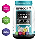 INVIGOR8 Superfood Shake Gluten-Free and Non GMO Meal Replacement Grass-Fed Whey Protein Shake with Probiotics and Omega 3 (645g) ... (French Vanilla)