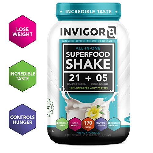INVIGOR8 Superfood Shake Gluten-Free and Non GMO Meal Replacement Grass-Fed Whey Protein Shake with Probiotics and Omega 3 (645g) ... (French Vanilla) ()