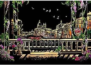 مجموعة رسم وتلوين بالخدش تصنعها بنفسك من قطعتين بشكل بطاقة خدش لمدينة البندقية بمظهر ليلي من الفنون المنزلية مع قلم