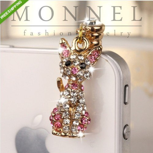 IP392-B Cute Crystal Pink 3D Cat Pet 3.5mm Ear Jack Anti Dust Plug Cover for iPhone & Android
