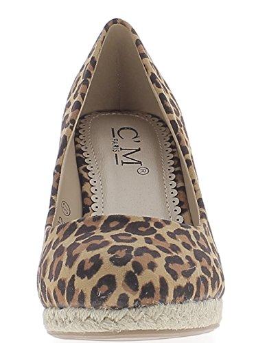 Espadrilles compensées léopard à talon de 9,5cm et plateau aspect daim