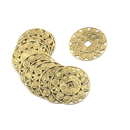 TableRe Prosperity Protection Set of 10 FENG Shui Lucky Charm Ancient I Ching Chinese Zodiac Coins