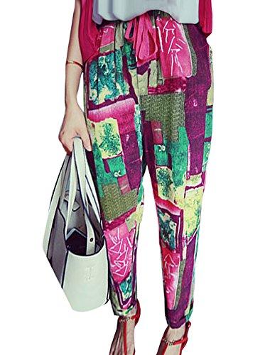sourcingmap® Mujeres imprimen cordón cintura elástica Pantalón Casual Multicolor