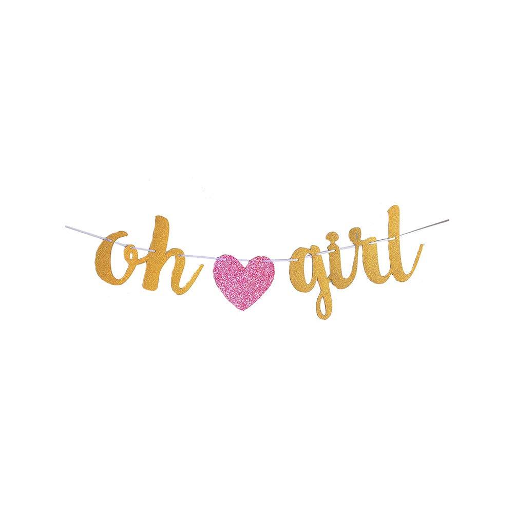 ベビーシャワーバナー Oh Girl バナー ゴールドとピンク ベビーシャワーデコレーション 吊り下げガーランド 装飾 誕生日パーティーデコレーション ベビーガール用   B07QMQJGQP