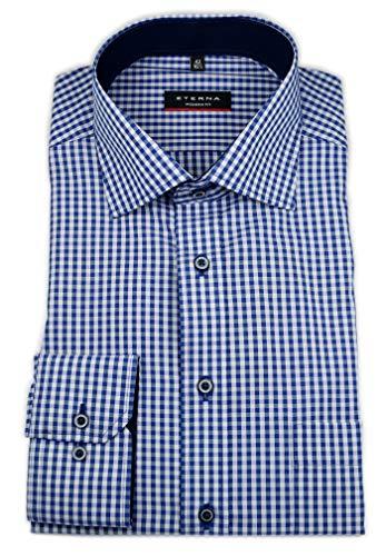 Long Poplin marine Fit Eterna Checked Shirt Modern Sleeve Blau 4wXppdfq