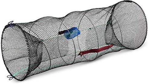 Storfisk fishing & more XXL Köderfischreuse extragroß (90 cm x 40 cm) mit Futtertasche und Öffnung zur Fischentnahme inkl. 3 m Schnur