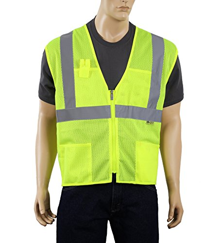Illuminated Safety Vest - Safety Depot Class 2 Ansi Safety Vest Zipper with Pockets High Visibility Reflective Lime A520 (Medium)
