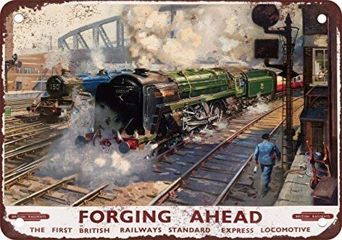 SIGNCHAT 1951 British Railways Forging Ahead Vintage Look Reproduction Metal Tin Sign 8X12 Inches