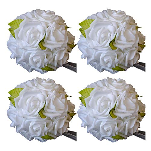 idyllic 6 Inches Kissing Flower Foam Ball Romantic Rose Pomander White for Wedding Centerpieces Decorations Soft Touch 4 Pack