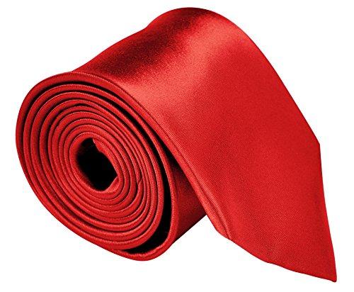 Moda Di Raza - Mens Tie Fashion Red Necktie 3.5 inches Satin Finish - Red Ties