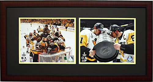 Pittsburgh Penquins Sidney Crosby & Evgeni Malkin 2017 Stanley Cup Champions, Framed 2 8x10's Photo Picture Collage (Crosby Framed Sidney Pittsburgh Penguins)