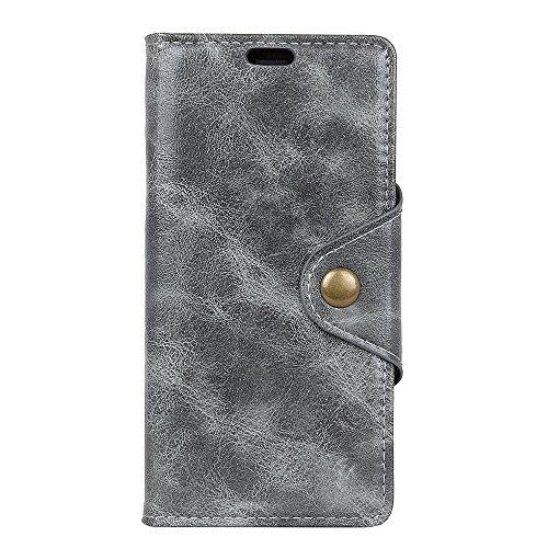 Funda Motorola Moto E4 2017 [Happon] Ranuras para Tarjetas y Billetera Carcasa PU Libro de Cuero Flip Leather Cierre Magnético Soporte Plegable para Motorola Moto E4 2017 (Azul) Gris
