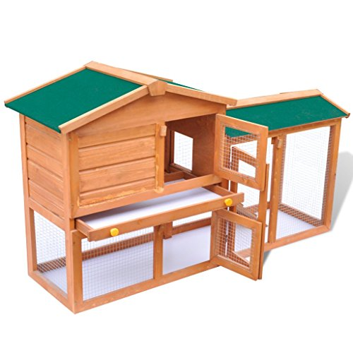 Anself Outdoor Large Wood House Rabbit Bunny Hutch with W...