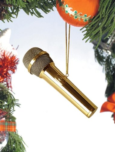 Musical Instrument Ornaments - Gold Microphone Musical Instrument Ornament 4 inches by Broadway Gifts