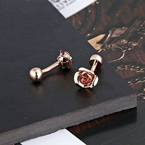 Gnzoe Men Stainless Steel Rose Gold Fashion Elegant Roses Flowers Gift Shirt Cufflinks with Gift Box by Gnzoe (Image #4)