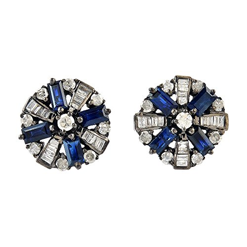 0.8Ct Diamond 925 Sterling Silver Blue Sapphire Baguette Cufflinks Gift Jewelry by Jaipur Handmade Jewelry