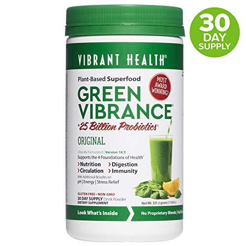(Vibrant Health, Green Vibrance, Plant-Based Superfood Powder, 25 Billion Probiotics Per Scoop, Vegetarian and Gluten Free, 30 Servings)