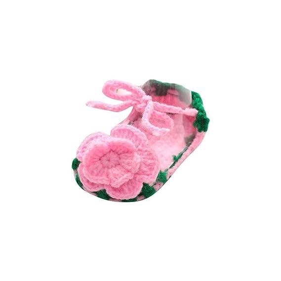 Zapatos Bebé niña Primeros Pasos Zapatos Rosas de Verano para bebés Cuna Crochet Calcetín de Punto Hecho a Mano de niñas Zapatos Princesa
