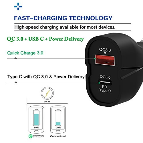iVoler 42W Due Porte Quick Charge 3.0 USB C Caricatore USB da Auto,Type C Porta con Power Delivery & Quick Charge 3.0 per iPhone X / 8 / 8 Plus / 7 / 6s Plus, Nintendo Switch, Samsung Galaxy S8 / S8 +