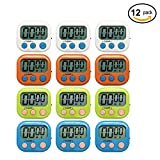 lcd digital timer - Xpeciall Digital Kitchen Timer Cooking Timers Clock with Big Digits Loud Alarm Magnetic Backing and Stand with Large LCD Display for Cooking Baking (12 Pack, 4 Color)