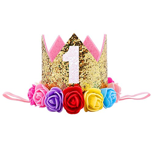 Ipalmay Baby Princess Glitter Crown, 1st Birthday Party Hat Gold Mix Rainbow Color