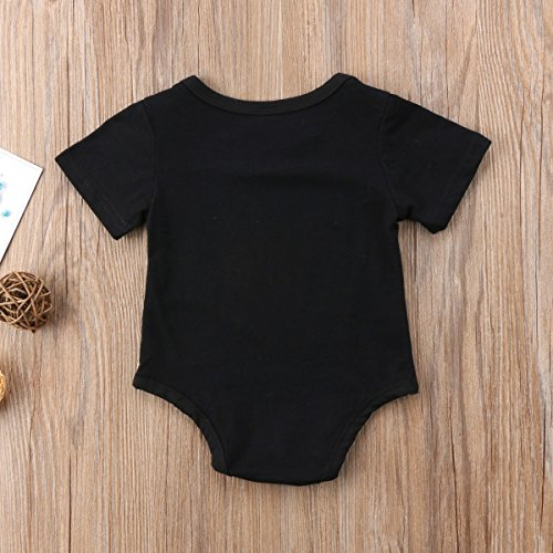 Enhill Newborn Infant Baby Girl Boy Short Sleeve Bodysuit Romper Summer Outfit Clothes Black