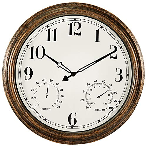 16 Inch Large Outdoor Wall Clock,Waterproof Vintage Non-Ticking Clock with Thermometer and Hygrometer Combo,Battery Operated Clock Wall Decorative- Bronze best to buy