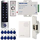 MATEE Full Complete Access Control System Kit With Touch Keypad Power Supply Strike Lock Exit Button Door Bell Keyfobs For Single Door