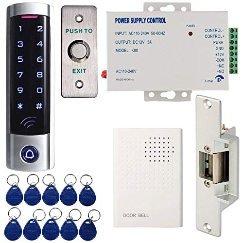 Strike Single - MATEE Full Complete Access Control System Kit With Touch Keypad Power Supply Strike Lock Exit Button Door Bell Keyfobs For Single Door