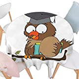 Cheery-Home Everyday Kitchen Tablecloth Graduation Funny Owl Teacher Instructor on Branch Professor Intelligent
