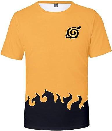 TSHIMEN Camisetas Hombre Naruto Japoneses Populares Personajes de Dibujos Animados 3D impresión en Color Digital Hombres y Mujeres Mangas Cortas Amarillas: Amazon.es: Ropa y accesorios