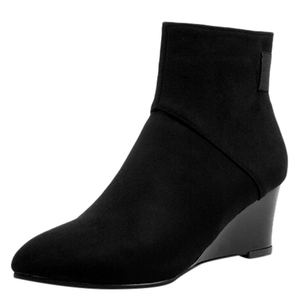 GIFC Fashion Women Suede Pointed Toe Shoes High Heels Zipper Short Plush Ankle Boots