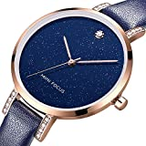 Quartz Watch for Women,Stone Analog Watch Fashion Ladies Wrist Watch with Blue Leather Band Starlight Dial Large Face