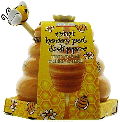 Mini Honey Pot and Dipper Bee Ceramic Wood