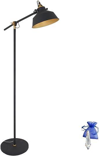 Lámpara de pie negro mate oro E27 Vintage La Industria Bombilla ...