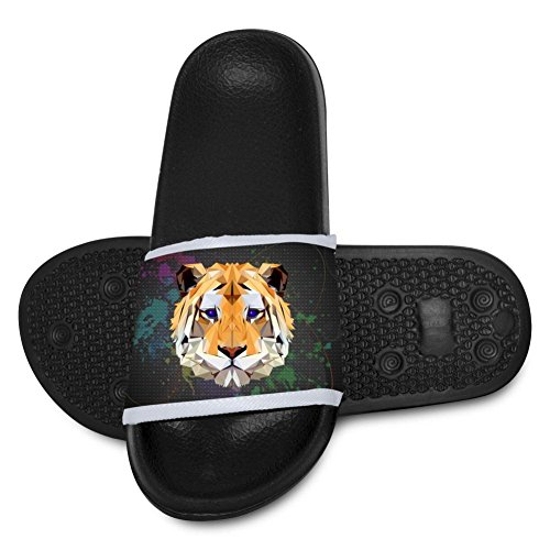 Kids Hawaii Slipper 3D Tiger Face Open Toe Non Slip Shower Shoes Flip-flop Flat Sandals by Yshoqq