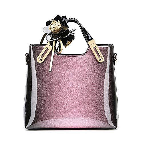 Purple Y Portátil Sola Mujer 27 Cuero Bandolera 30 De yt 11 Mediana Bolsos Patente Edad Cm CCU1q