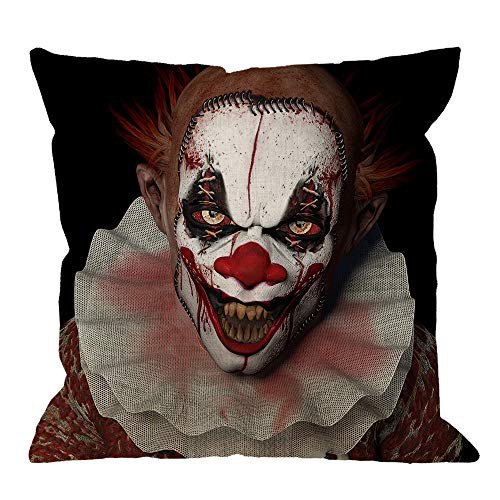 HGOD DESIGNS Scarier Clown Throw Pillow Cushion Cover,A Scarier Clown with Sharp Pointy Teeth Evil Circus Halloween Cotton Linen Polyester Decorative Home Decor Sofa Couch Desk Chair Bedroom 18x18inch
