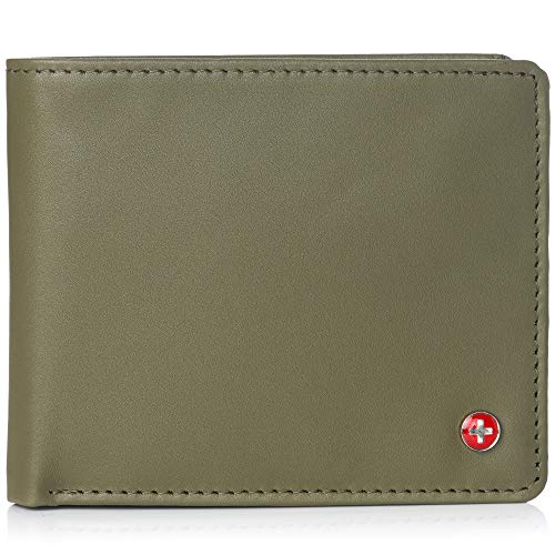 (Alpine Swiss RFID Men's Wallet Deluxe Capacity Passcase Bifold With Divided Bill Section Smooth Finish Olive)