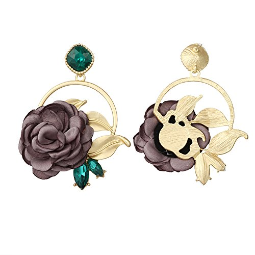 Dwcly Gold Plated Leaf Circle Round Brown Rose Flower Drop Earring Green Rhinestone Ear Jewelry
