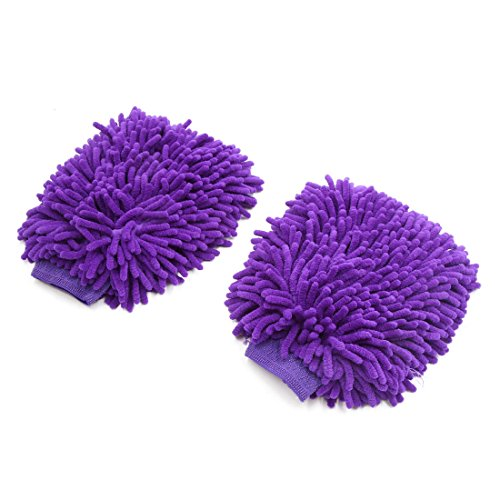 uxcell 2Pcs Purple Dual Sided Long Microfiber Chenille Mitt Car Washing Cleaning Glove by uxcell
