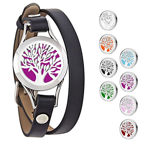 25Mm Aromatherapy/ Essential Oil Diffuser Locket Bracelet Leather Band With 8 Color Pads (Style 10)