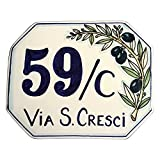 CERAMICHE D'ARTE PARRINI - Italian Ceramic Art Pottery Tile Custom House Number Civic Address Plaques Decorated Olive Hand Painted Made in ITALY Tuscan