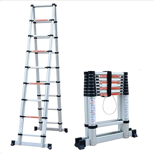 Felices juntos Escalera de bambú Conjunta casera de aleación de Aluminio en Espiga Plana Elevador telescópico Escalera de Escalada doméstica Ambiente Multifuncional (2m-3.8m) (Size : 2.6m): Amazon.es: Hogar