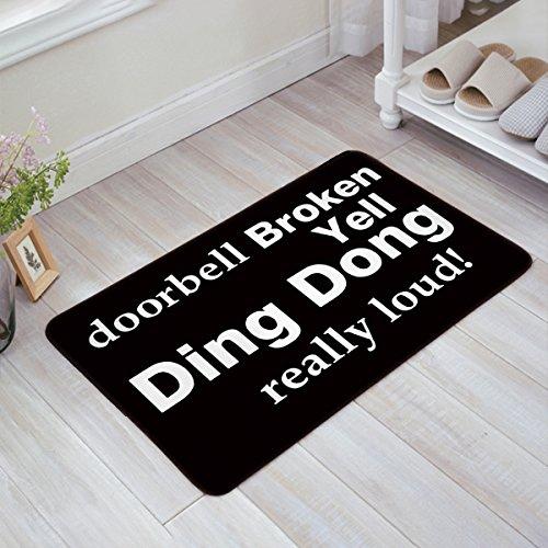 Yell Fabric - Doormat doorbell Broken Yell Ding Dong really loud black back Welcome Door Mat Rug Indoor/Outdoor Mats Welcome Doormat Decor Rug 23.6