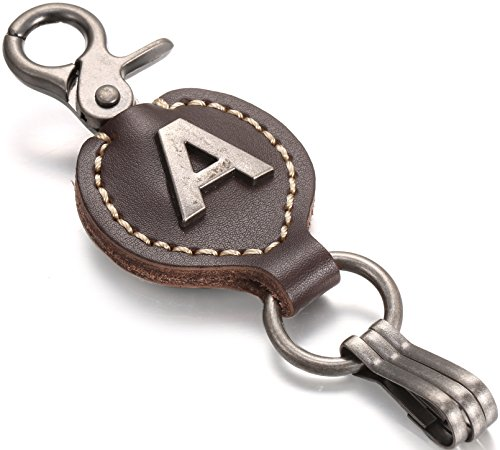 Brown Leather Alphabet Keychain, Single Letter with Easy Clasp Key - by Marino Ave - A - onesize
