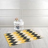 Kapaqua Rubber Backed 34 x 5 Yellow & Grey Chevron Area Rug Non-Slip Living, Dining, Room, Pet, Kitchen Rug 3X5